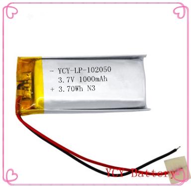 警用肩灯专用聚合物锂电池YCY-LP-102050 3.7V 1000mAh